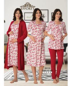 Effortt 8016 Lohusa Sabahlıklı Gecelik ve Pijama Takım set