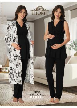 Effortt 8034 Sabahlıklı Lohusa Pijama Takım