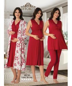Effortt 8036 Lohusa Sabahlıklı Gecelik ve Pijama Takım Set